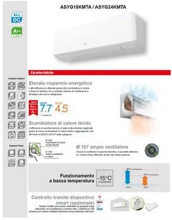 Climatizzatore Fujitsu Mono Split 24000 Btu ASYG24KMTA AOYG24KMTA