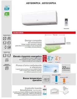 Climatizzatore Fujitsu Mono Split 9000 Btu ASYG09KPCA AOYG09KPCA